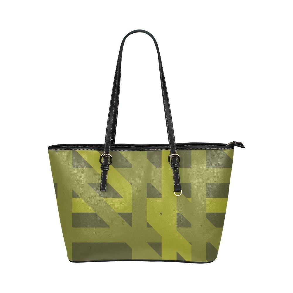Green Stripes Organized Mess Custom Women's Leather Tote Large Bag/Handbag/Shoulder Bag
