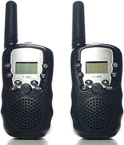 2-pack Walkie Talkie niños ricetrasmittente PMR 2 Way Radios Alcance Hasta 8 KM Vox Radio Bidireccional (4 x AAA, Built-in Linterna LED) T338, negro: Amazon.es: Instrumentos musicales