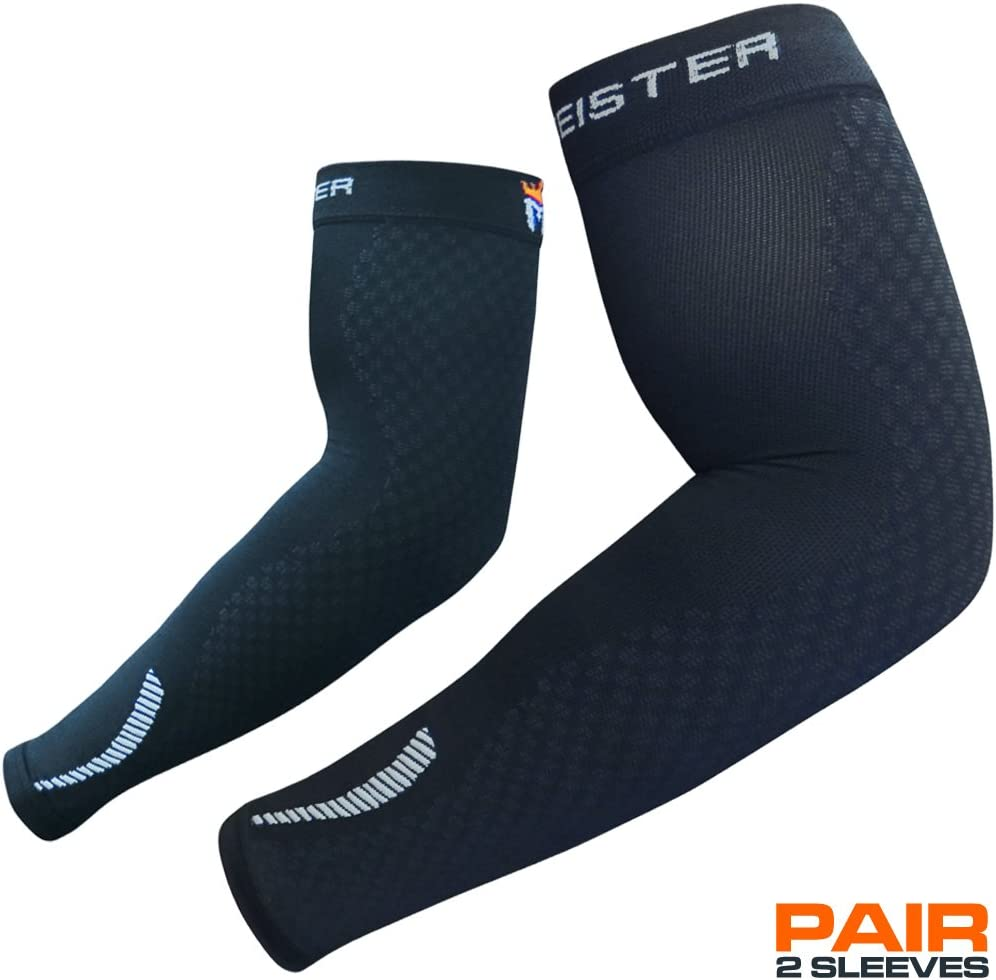 Football and All Sports for Basketball Meister HEX Graduated Compression Arm Sleeves Pair