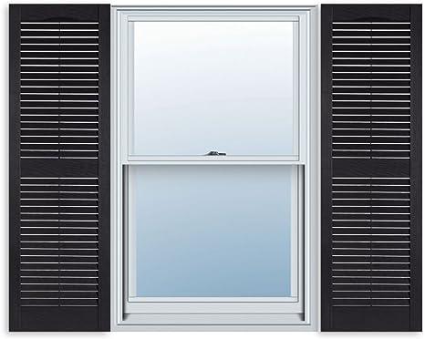 Amazon Com 15 Inch X 71 Inch Standard Louver Exterior Vinyl Window Shutters Black Pair Home Kitchen