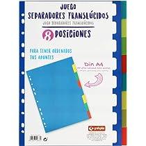 Grafoplás 41260500-Juego de separadores de colores para archivadores y carpetas, 8 pestañas tamaño A4: Amazon.es: Oficina y papelería