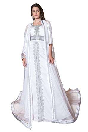 d5d518e3f70 Kolkozy Fashion Women s Moroccan Long Sleeve Wedding Caftan White Size XS
