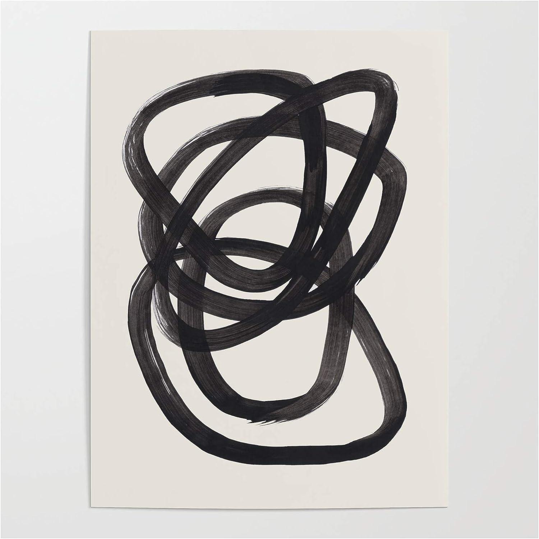 Amazon Com Society6 Mid Century Modern Minimalist Abstract Art Brush Strokes Black White Ink Art Spiral Circles By En Posters Prints