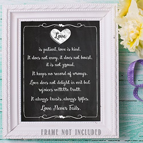 Love is Patient Chalkboard Look 11 x 14 Wall Art Sign Plaque
