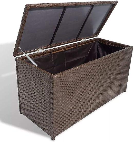 Tidyard- Caja de almacenaje jardín 120x50x60 cm ratán sintético marrón: Amazon.es: Hogar