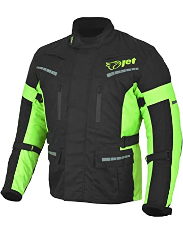 9a0e51be8782 Jet Black Fluro Textile Motorcycle Motorbike Jacket Waterproof CE Armoured
