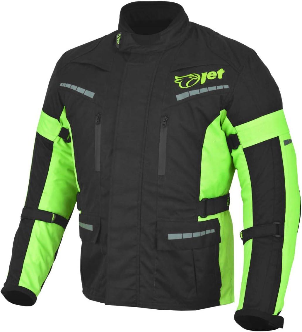 Jet Black Fluro Textile Motorcycle Motorbike Jacket Waterproof CE Armoured