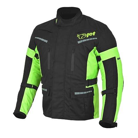 JET Chaqueta Moto Hombre Textil Impermeable con Armadura Tourer (Negro Fluro, 3XL)