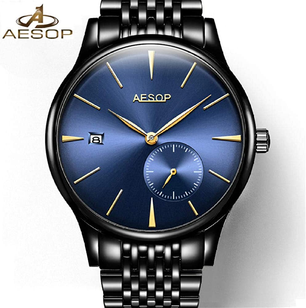 AIZHIJIA Watches Mens Automatic Mechanical Stainless Steel Strap Clock Waterproof White Silver