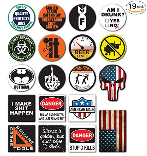 19-Pack Hard Hat, Tool Box Stickers | 100% Vinyl | Proudly MADE IN USA! Funny decals for Construction, Electrician, Union, Oilfield, Military, Fire Crew, Mechanics | Display your American - Head I Have A Square