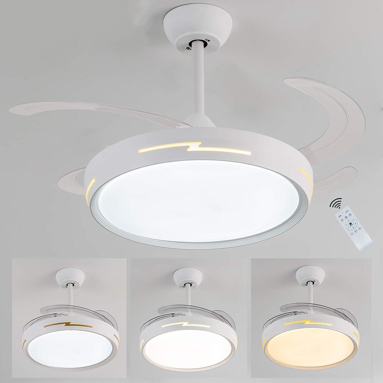 Ventilador de techo con luz led, 54W Ventilador aspas ocultas, Ventilador techo motor DC bajo consumo silencioso, 6 velocidades 3 tonos de luz temporizador,mando a distancia, Regulable,función inversa