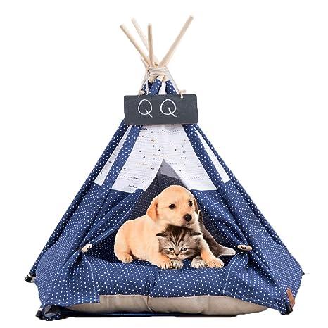Arkmiido Perro para Perros y Cama para Gatos con cojín- Tiendas de campaña Casas para Mascotas con cojín y Pizarra (Azul)
