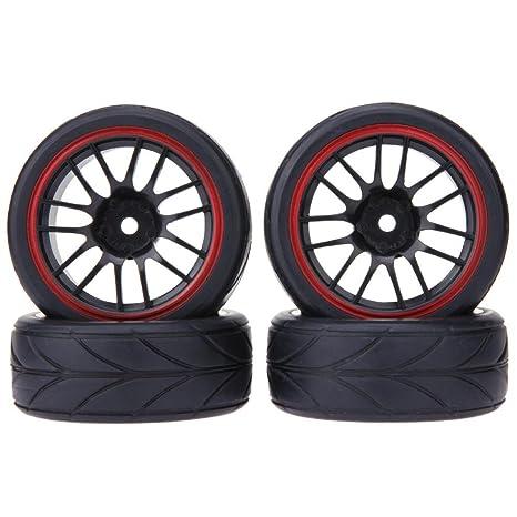 Domybest - 4 ruedas universales de carreras de coche con llantas de carreras para todoterreno,