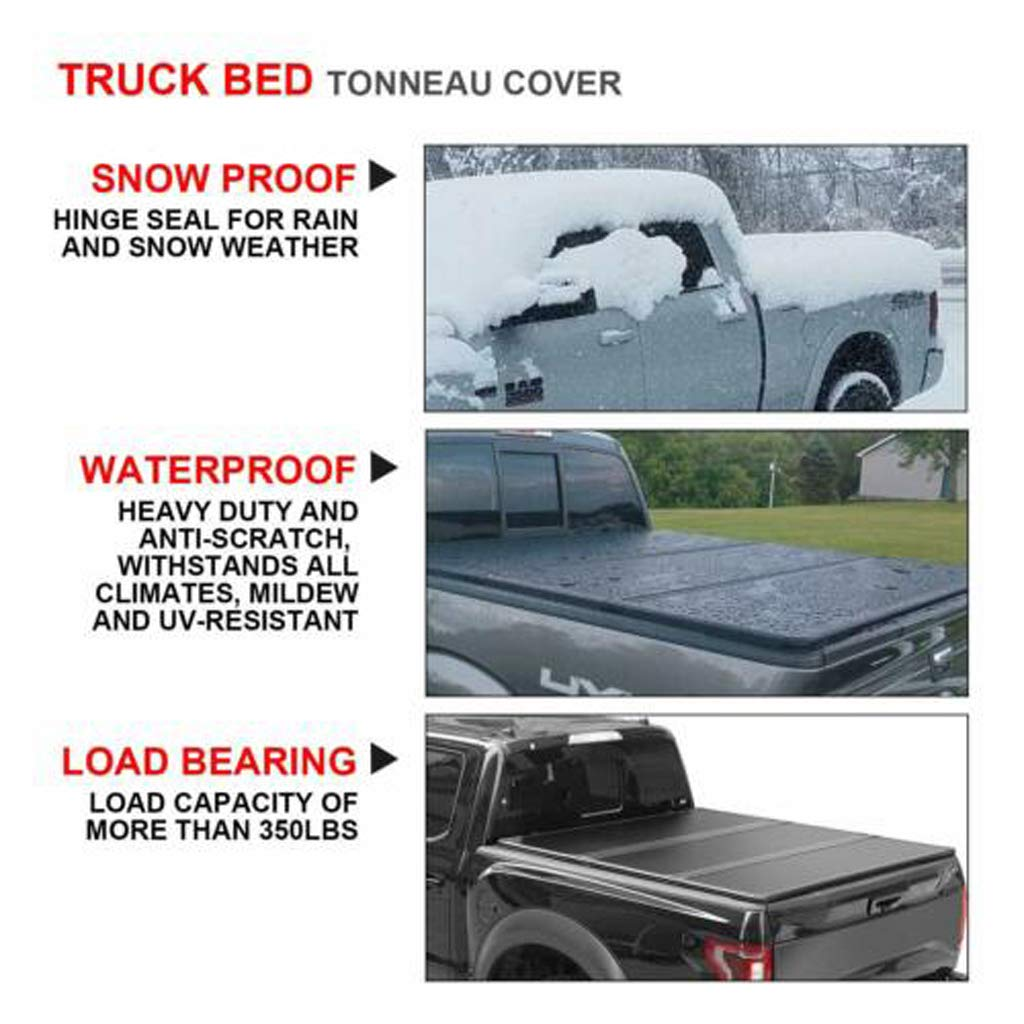 Quick Clamp 5.5 Bed Truck Tonneau Covers for Ford F-150 2004-2019 Short Bed Hard Tri-Fold Soft Cover Clamp-On Shipped from US Easy to Install Black, 69in x 67in x 2in