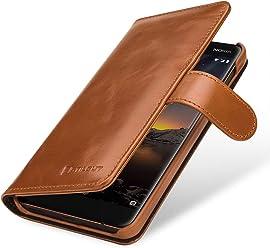 StilGut Talis Housse Nokia 6.1 avec Porte-Cartes en Cuir véritable. Etui Portefeuille pour Nokia 6.1 à Ouverture latérale et Languette magnétique, Cognac