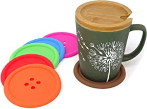 Honbay 6PCS Colorful Button Drink Coasters Silicone Cup Mats Non-Slip Heat Resistant Cup Pads