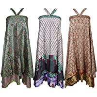 Mogul Womens Wholesale 3 Pcs Lot Indian Magic Wrap Around Skirt Two Layers Recycled Sari Dress