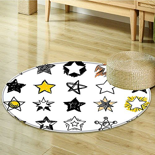 (Anti-Skid Area Rug Sweet Sixteen Stars Style Art Rock Punk Themed Teen Roomation Yellow White Soft Area Rugs-Round)