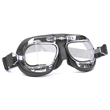 df5524a987b HDM Halcyon MK49 Leather Motorcycle Goggles for Open Face Helmets (Black  Leather)  Amazon.co.uk  Car   Motorbike