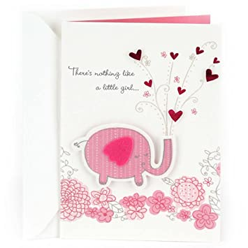 amazoncom hallmark congratulations greeting card for new baby girl pink elephant office products