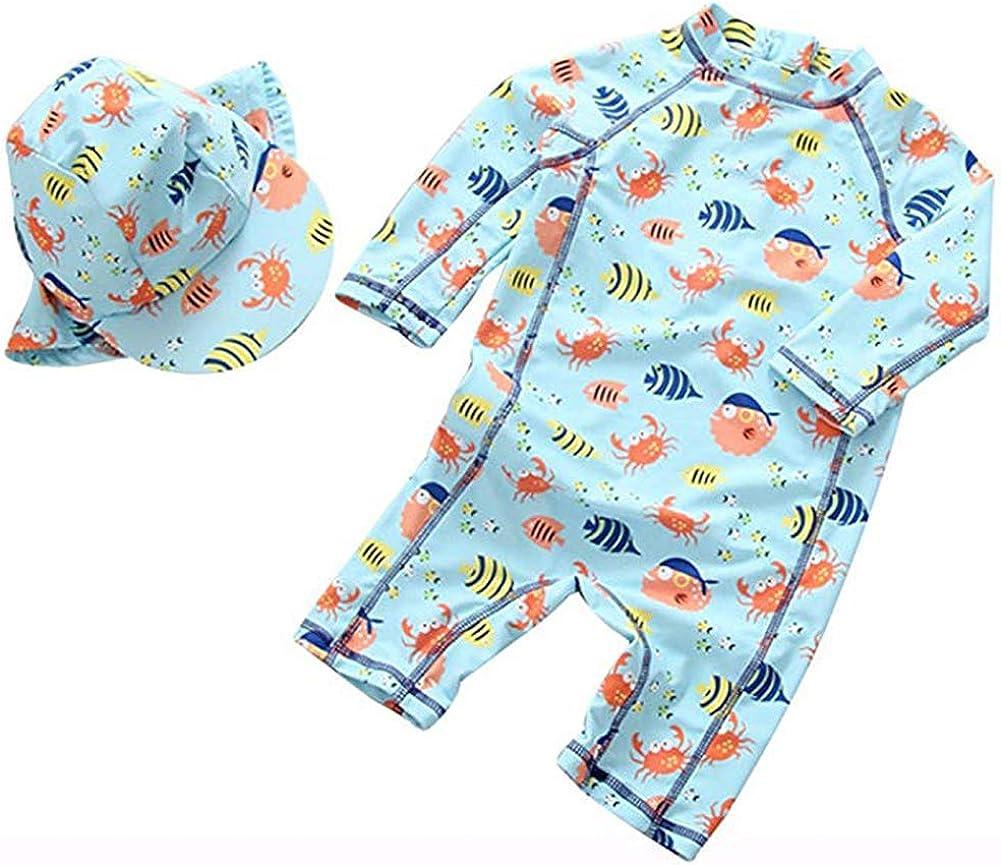 Kids Baby Boys Girls One Piece Swimsuit Set Short Sleeve Bathing Suit Rash Guards with Hat UPF 50+