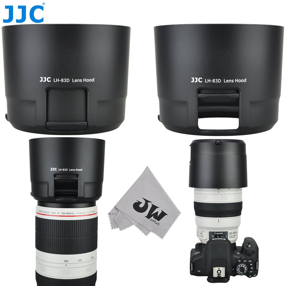 JW LH-83D Black Reversible Lens Hood for Canon EF 100-400mm f/4.5-5.6L is II USM Lens w/CPL ND Filter Adjustment Window Replaces Canon ET-83D + JW emall Micro Fiber Cleaning Cloth Jinjiacheng Photography Equipment Co. Ltd. 4332261756