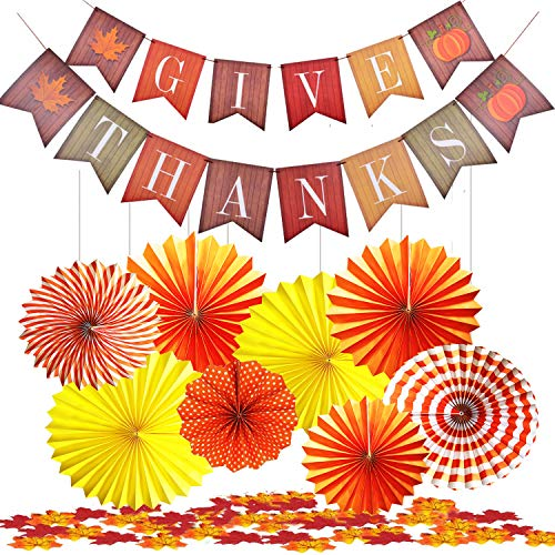 Thanksgiving Party Decoration Kit Fall Harvest Banner Garland and Yellow Hanging Paper Fans Pinwheel Set Decor Autumn Confetti Table Decorate, Home Garden Indoor Outdoor Wall Bunting Backdrop Supplies from HYFYF