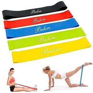 Bande Elastique Fitness,Bukm Bandes ƒlastiques de RŽsistance 5 Pcs  ƒquipement d Exercices pour fitness, yoga, entrainement crossfit et Motrice  ... baa73827e63