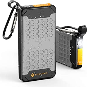 Novoo 10000mAh Portable Charger Waterproof Battery Pack USB C Power Bank with PD 18W LED Flashlight Fast Charge for iPhone Xs/XR/XS Max/X, iPad, Galaxy S9 / Note 9, Huawei Mate 20 Pro
