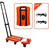 Portable Folding Luggage Cart with 6 Wheels and 2 Free Rope Upgrade Large Wheels with Brakes Withstand 440 Pounds Hand Truck (Orange)