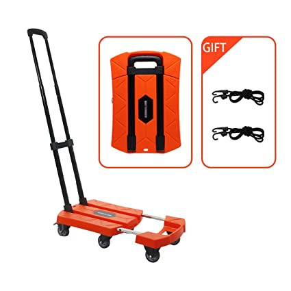8469beec62a8 Portable Folding Luggage Cart with 6 Wheels and 2 Free Rope Upgrade Large  Wheels with Brakes Withstand 440 Pounds Hand Truck (Orange)