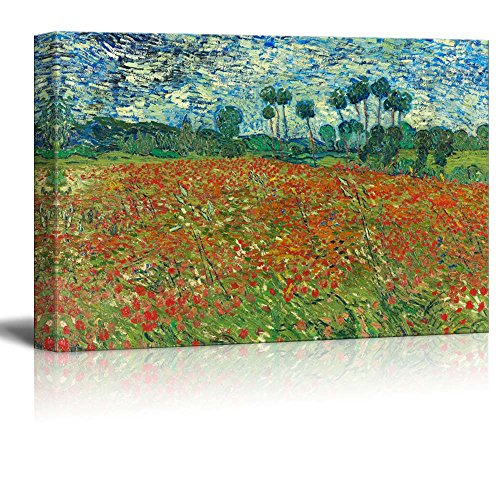 Van Gogh Poppies - wall26 - Poppy Field by Vincent Van Gogh - Canvas Print Wall Art Famous Painting Reproduction - 24