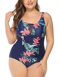 a3827d4d2a2 JOYMODE Women's Plus Size Swimsuit One Piece Swimwear Mesh V Neck Bathing  Suit