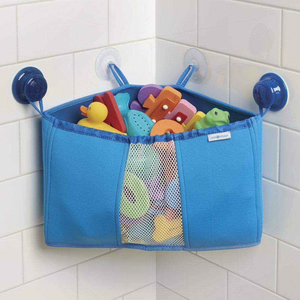Amazon.com: mDesign Corner Kids and Baby Suction Shower Caddy, Bath ...