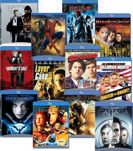 Blu-ray 12-pack (Black Hawk Down / Casino Royale / The Fifth Element / Gattaca / Hellboy / House of Flying Daggers / A Knight's Tale / Layer Cake / Talladega Nights / Underworld Evolution) (Layer Starter)