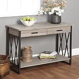 Contemporary Rectangle Livingroom Seneca Rustic Reclaimed Wood Coffee Sofa Table Black & Gray Finish