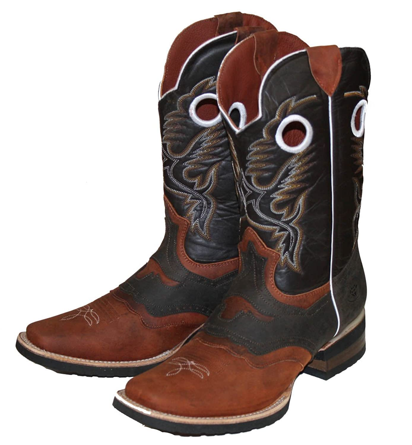 Men's Genuine Cow Hide Leather Cowboy Boots Animal Print