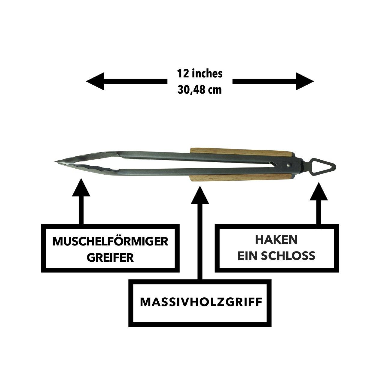 GrillHogs Acero Inoxidable Pinzas de Barbacoa/ /30/cm/ /Calidad del Producto /Modelo Profesional con Mango de Madera Maciza/