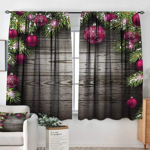 Theresa Dewey White Curtains Christmas,Old Fashioned Concept with Twigs and Balls on Rustic Wood Vintage Design Print,Brown Pink,Decorative Curtains for Living Room and Bedroom 42