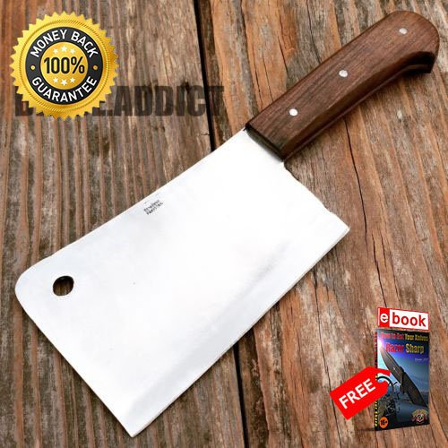 11.5'' Heavy Duty Meat Cleaver Chef Knife Butcher Chopper Stainless Steel MC-6 For Hunting Tactical Camping Cosplay + eBOOK by MOON KNIVES (Mtech Chopper Knife)