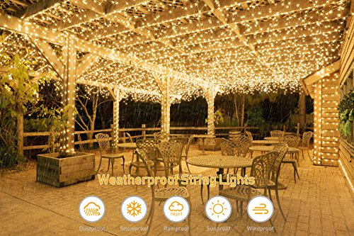 Upoo Solar String Lights,2 Pack 100LED Copper Wire Lights 33ft 8 Modes Fairy Lights Waterproof Outdoor String Lights for Patio Garden Gate ard Party Wedding Xmas Indoor Decoration Bedroom Warm White by Upook (Image #2)