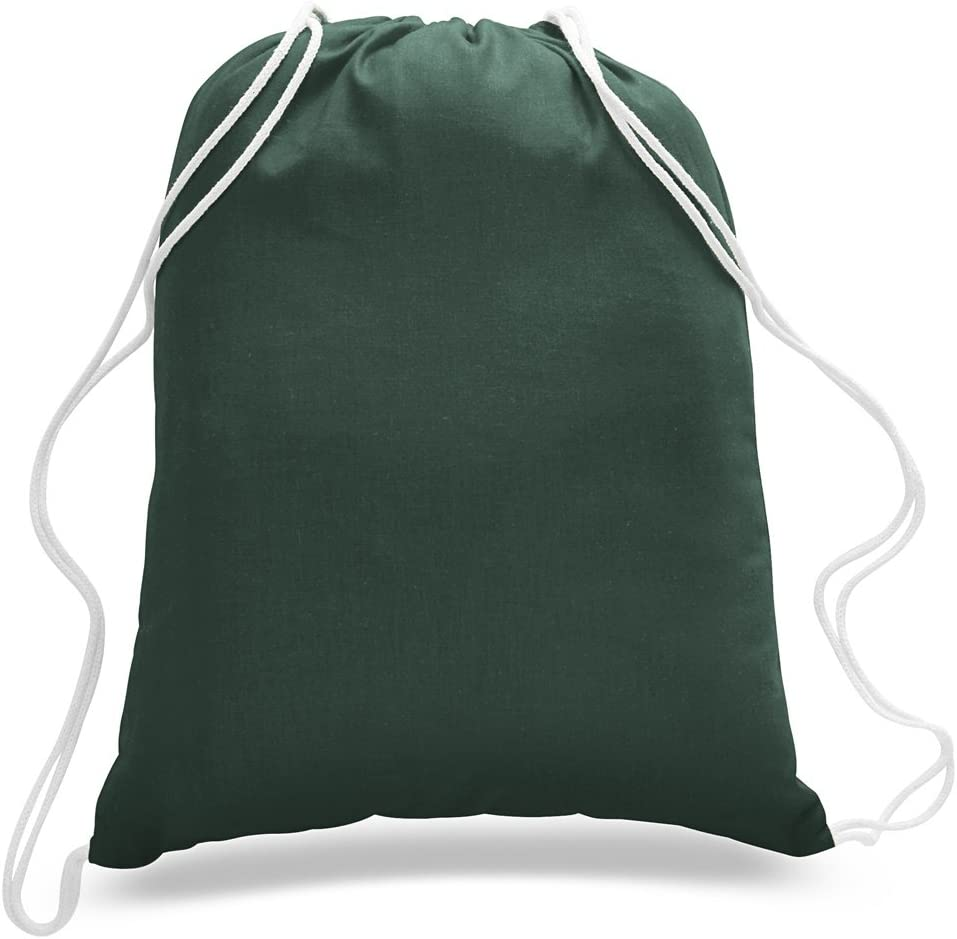 (12 Pack) 1 Dozen - Durable Cotton Drawstring Tote Bags (Forest Green)