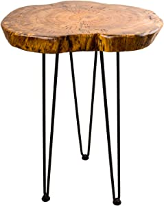 Natural Wooden Edge End Table, Hurricom Rustic Old Round Wood Side Table Nightstand Accent Table with Hairpin Legs, 20 inch Tall