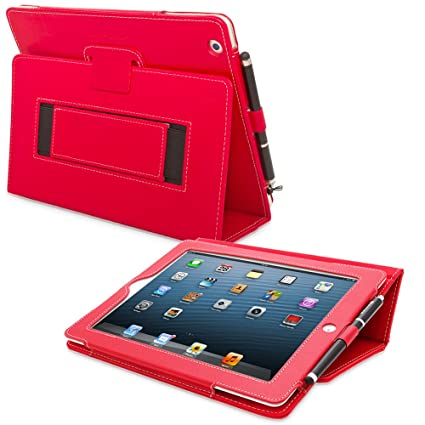 Snugg iPad 3 & 4 Case - Smart Cover with Flip Stand & Lifetime Guarantee  (Red Leather) for Apple iPad 3 and 4