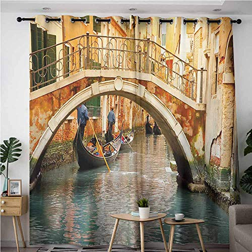 AndyTours Curtains for Living Room,Venice,Ancient Bridge and Traditional Gondola Canals of Famous Touristic City,Blackout Draperies for Bedroom,W108x72L,Orange Ivory Bluegrey]()