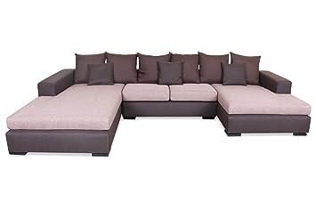 Sofa Spin Möbel Wohnlandschaft Napoli Braun Mit Federkern