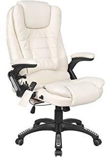 FoxHunter Luxury Leather 6 Point Massage Office Computer Chair Reclining High  Back Cream New