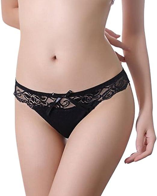 Womens Lace Bikini Knickers T-string Thongs Underwear Briefs Lingerie Bowknot