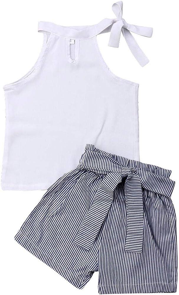 2pcs Kids Baby Girl Floral Clothes Set Outfits Sleeveless Shirt Shirts
