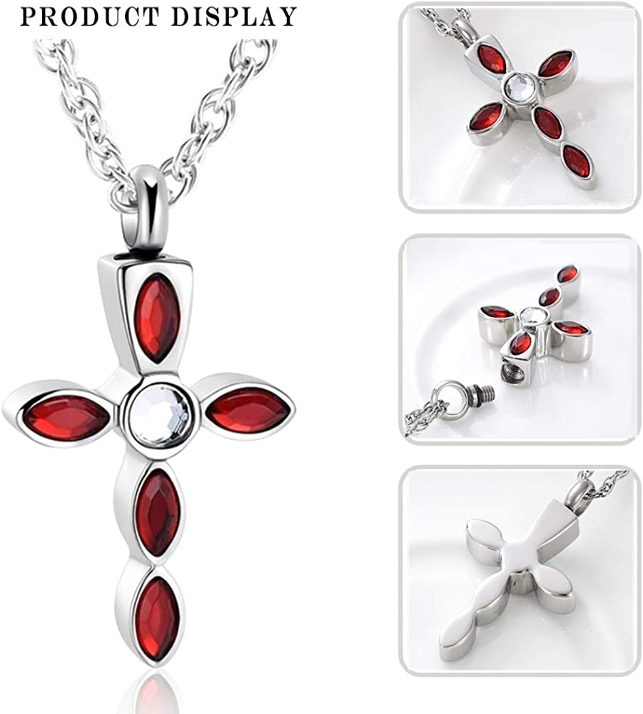shajwo Cross Cremation Jewelry for Ashes Stainless Steel Classic Urn Pendant Necklace Memorial Ash Holder Keepsake Urn Jewelry for Men Women